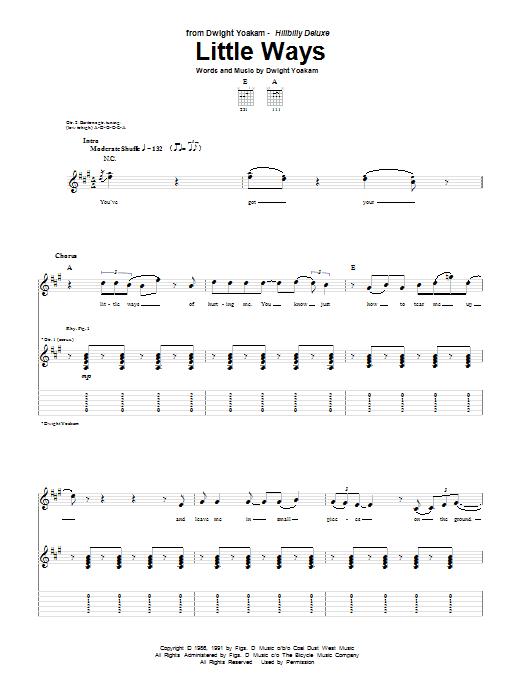 Tablature guitare Little Ways de Dwight Yoakam - Tablature Guitare