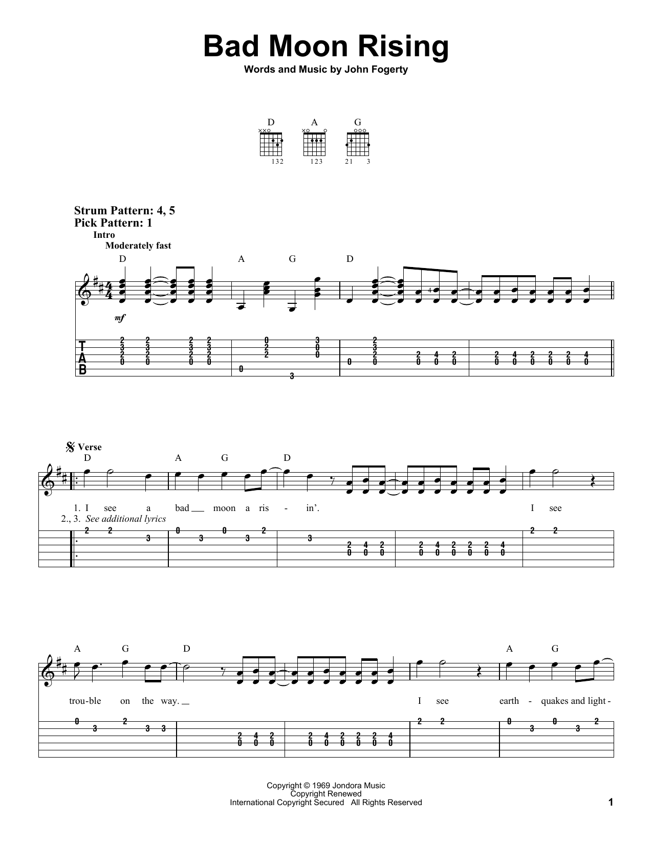Tablature guitare Bad Moon Rising de Creedence Clearwater Revival - Tablature guitare facile