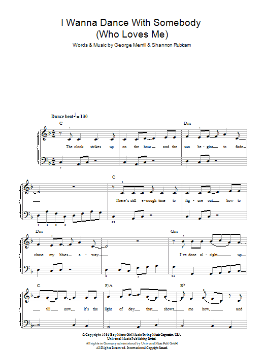 I Wanna Dance With Somebody (Who Loves Me) sheet music for piano solo (chords) by George Merrill
