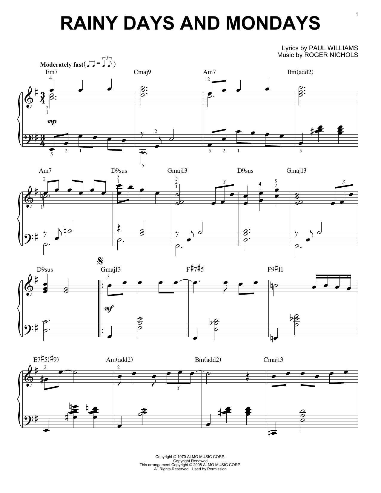 Partition piano Rainy Days And Mondays de Carpenters - Piano Solo