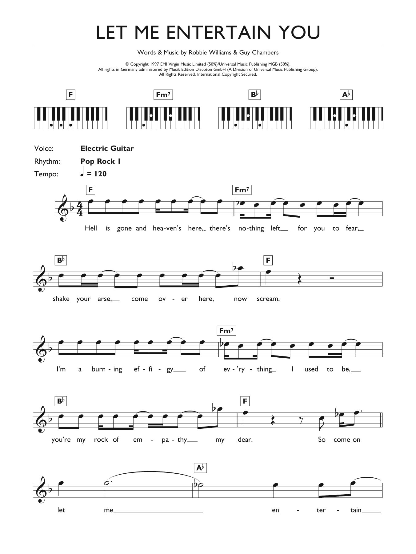 Let Me Entertain You sheet music for piano solo (chords, lyrics, melody) by Guy Chambers