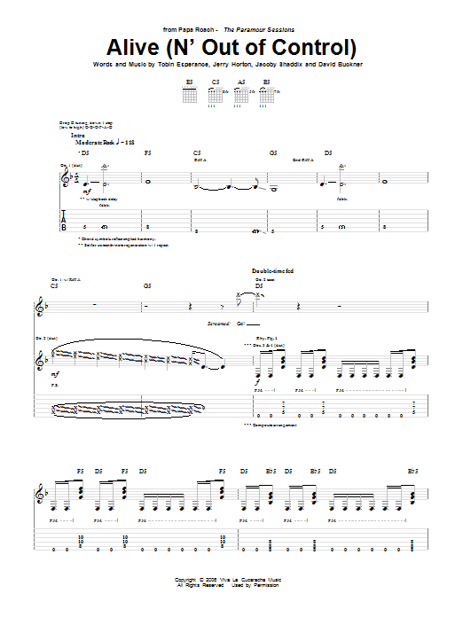 Tablature guitare Alive (N' Out Of Control) de Papa Roach - Tablature Guitare