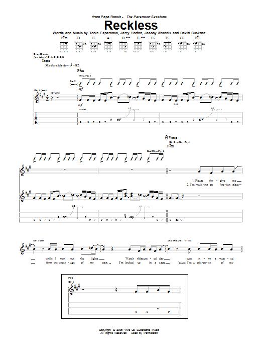 Tablature guitare Reckless de Papa Roach - Tablature Guitare