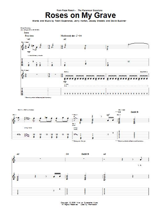 Tablature guitare Roses On My Grave de Papa Roach - Tablature Guitare