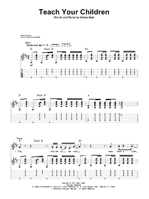 Tablature guitare Teach Your Children de Crosby, Stills, Nash & Young - Tablature Guitare