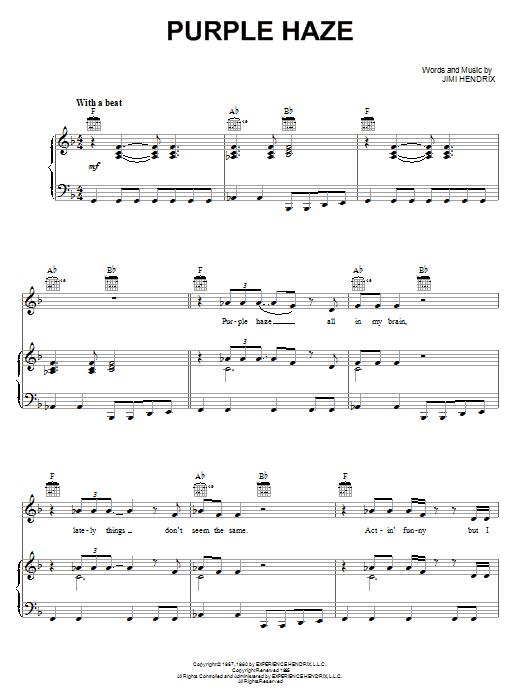 partition guitare purple haze