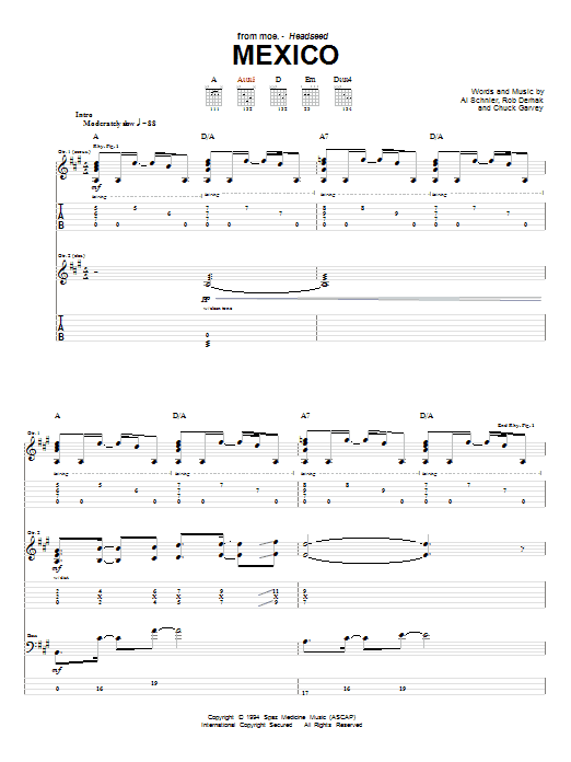 Tablature guitare Mexico de moe. - Tablature Guitare