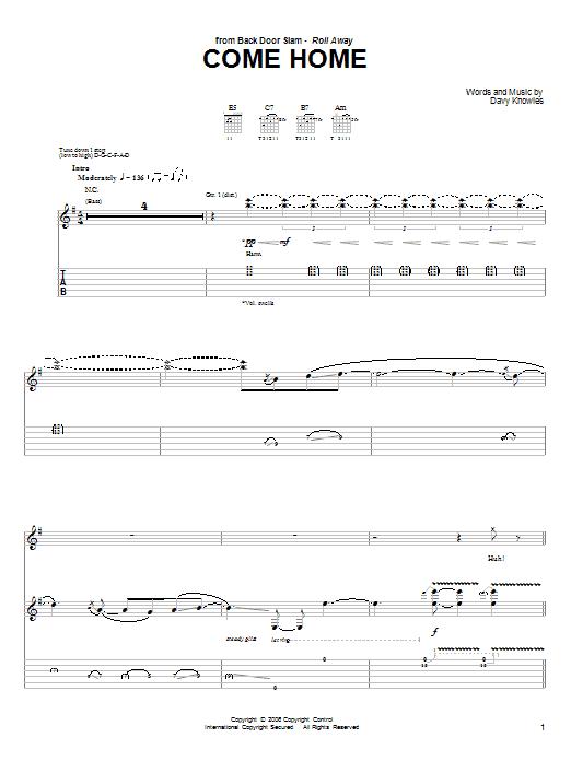 Tablature guitare Come Home de Back Door Slam - Tablature Guitare