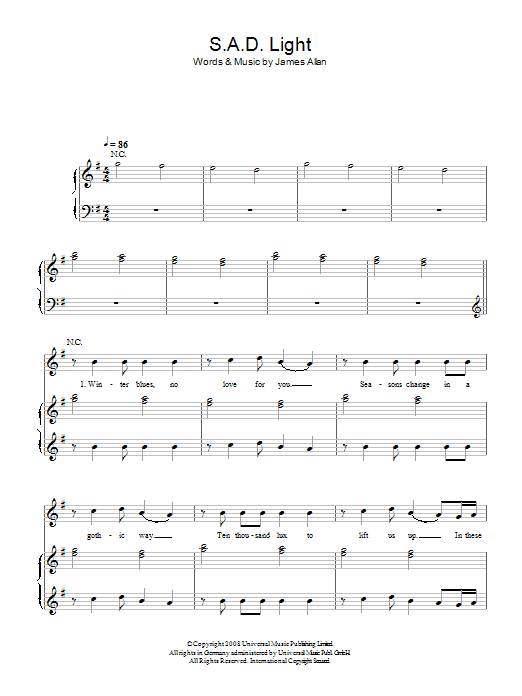 SAD Light sheet music for voice, piano or guitar by James Allan