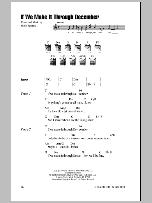 If We Make It Through December sheet music for guitar solo (chords, lyrics, melody) by Merle Haggard