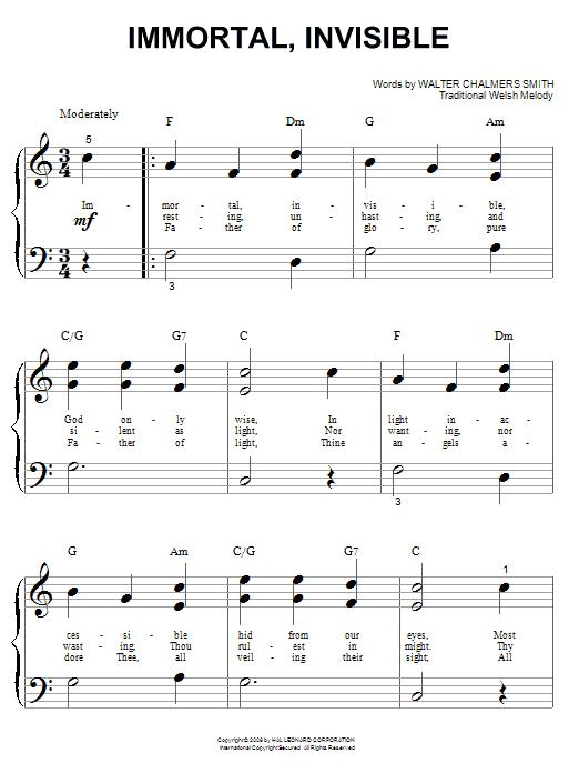 Partition piano Immortal, Invisible de Walter C. Smith - Autre