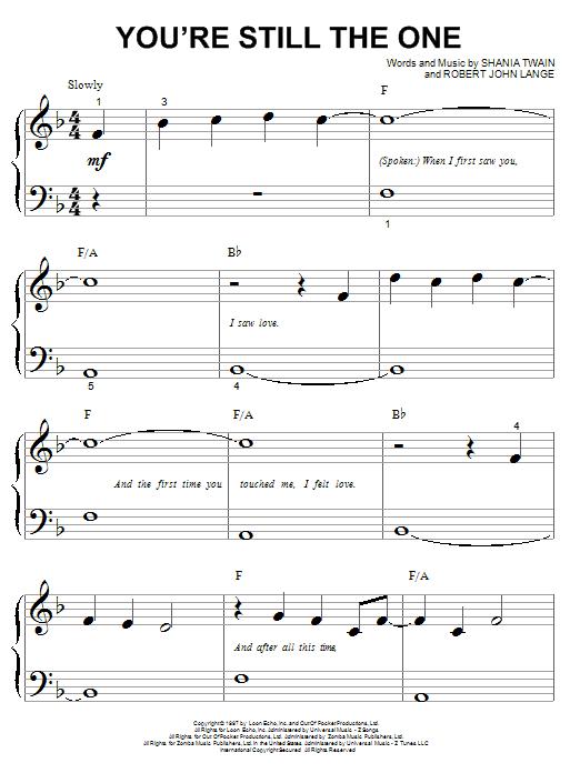 Partition piano You're Still The One de Shania Twain - Piano Facile
