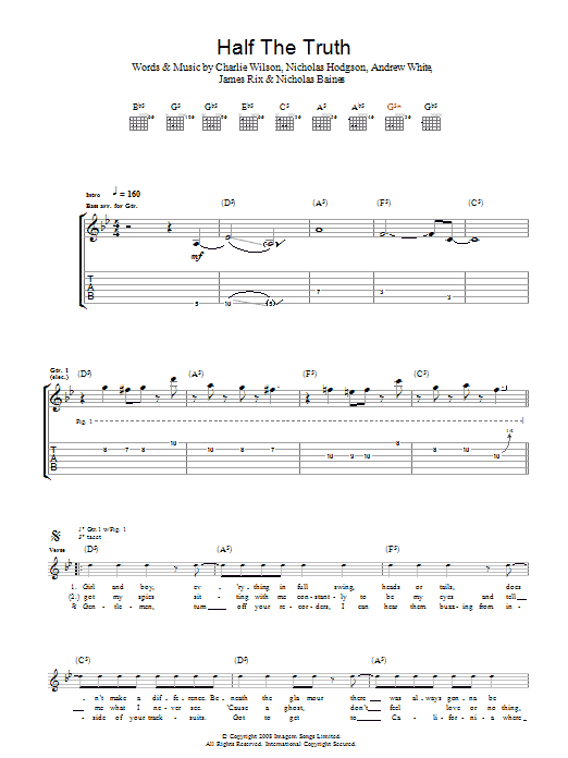 Half The Truth sheet music for guitar solo (tablature) by Andrew White