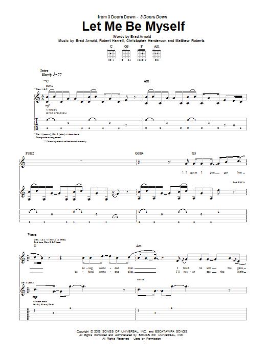 Tablature guitare Let Me Be Myself de 3 Doors Down - Tablature Guitare