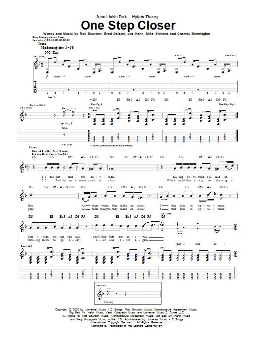 Tablature guitare One Step Closer de Linkin Park - Tablature Guitare