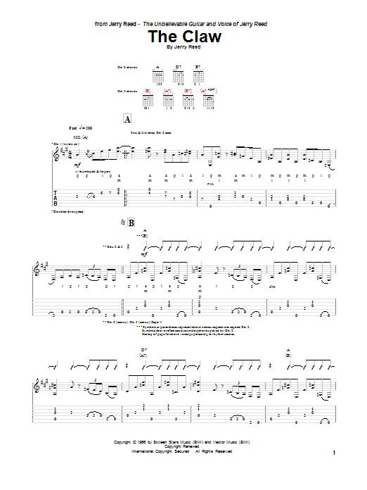 Tablature guitare The Claw de Jerry Reed - Tablature Guitare