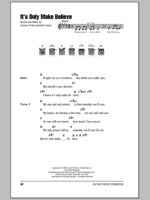 It's Only Make Believe sheet music for guitar solo (chords, lyrics, melody) by Jack Nance
