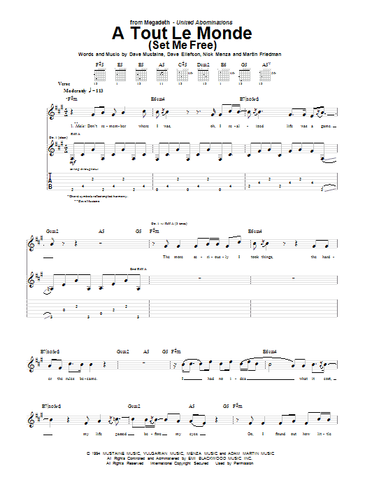 Tablature guitare A Tout Le Monde (A Tout Le Monde (Set Me Free)) de Megadeth - Tablature Guitare