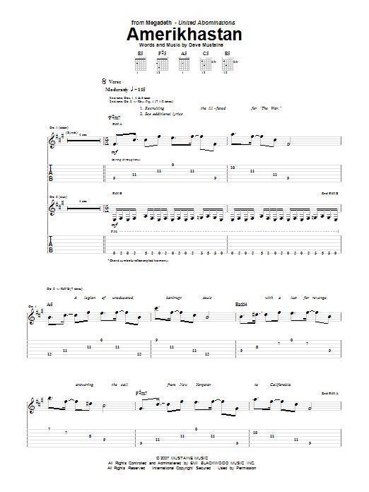 Tablature guitare Amerikhastan de Megadeth - Tablature Guitare