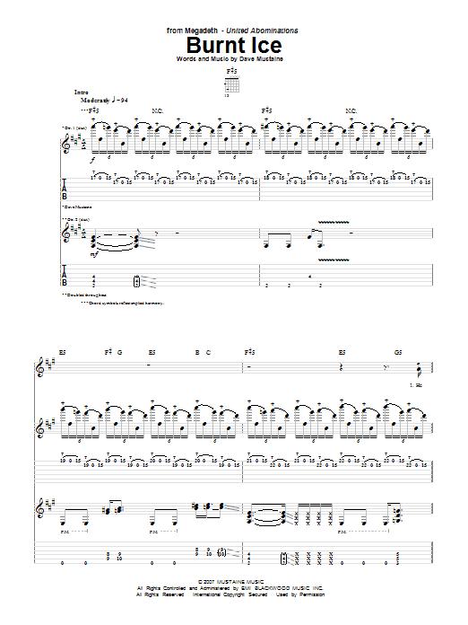 Tablature guitare Burnt Ice de Megadeth - Tablature Guitare