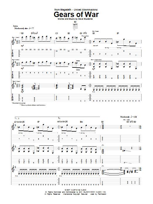 Tablature guitare Gears Of War de Megadeth - Tablature Guitare