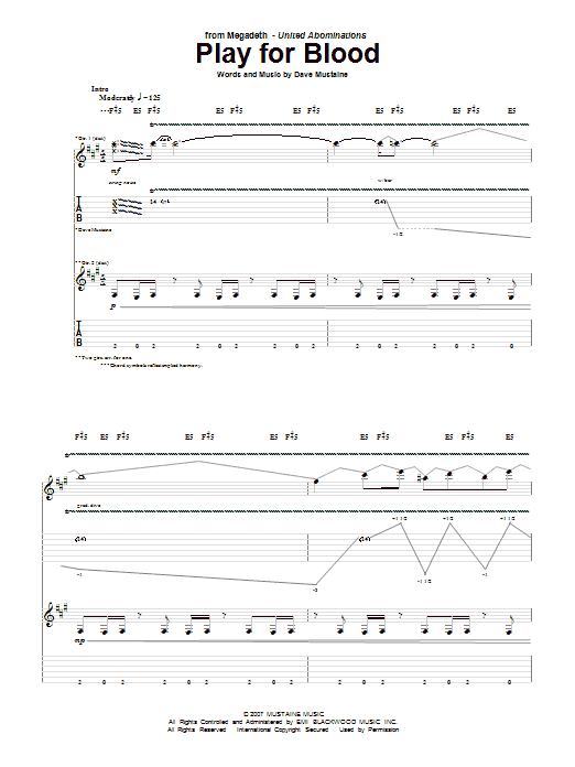 Tablature guitare Play For Blood de Megadeth - Tablature Guitare