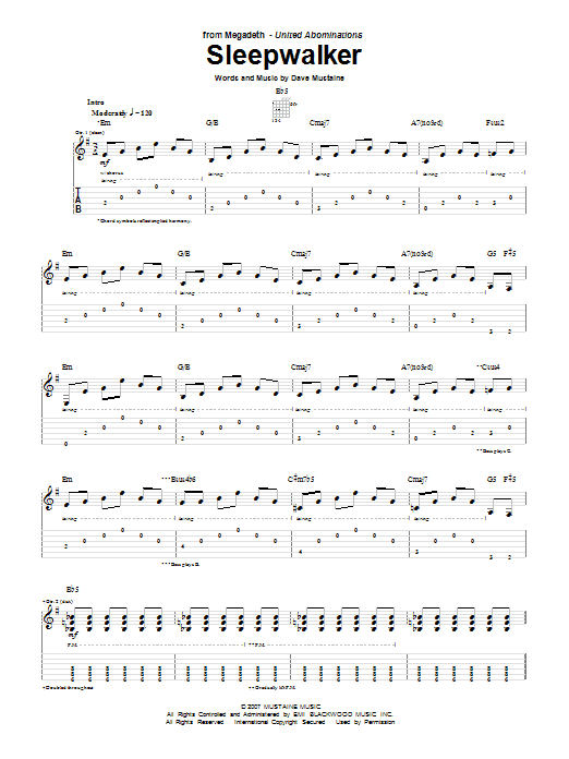 Tablature guitare Sleepwalker de Megadeth - Tablature Guitare