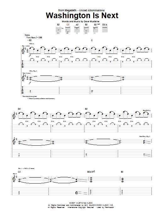 Tablature guitare Washington Is Next de Megadeth - Tablature Guitare