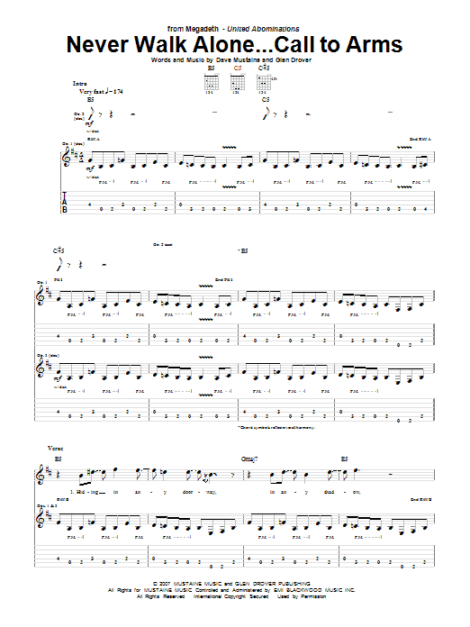 Tablature guitare Never Walk Alone...Call To Arms de Megadeth - Tablature Guitare