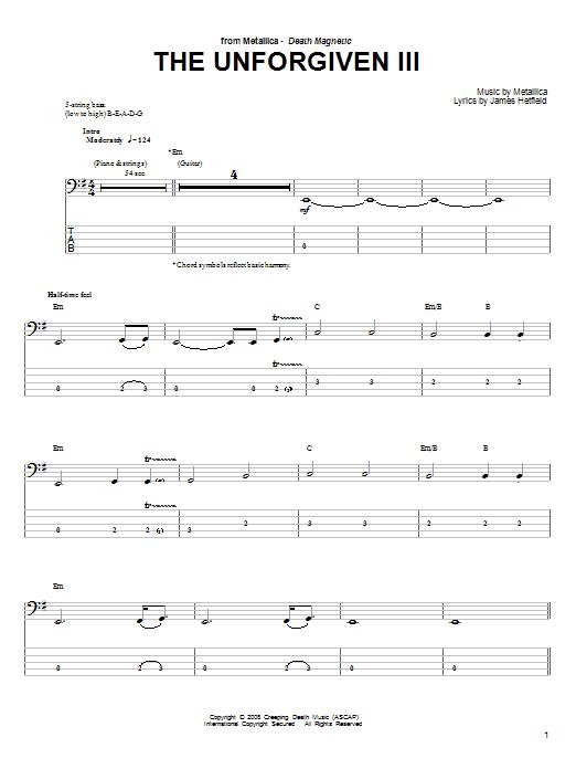 partition piano metallica the unforgiven 3