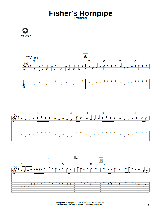 Fisher's Hornpipe sheet music for guitar solo