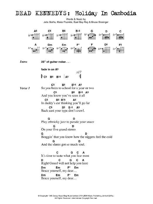 Holiday In Cambodia sheet music for guitar solo (chords, lyrics, melody) by Bruce Slesinger