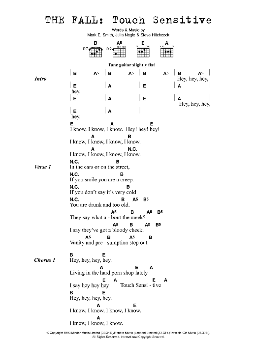 Touch Sensitive sheet music for guitar solo (chords, lyrics, melody) by Julia Nagle