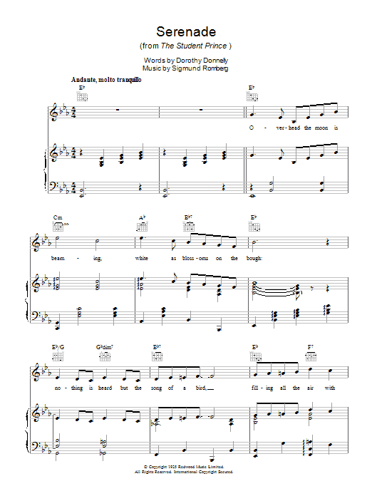 Serenade (from The Student Prince) sheet music for voice, piano or guitar by Dorothy Donnelly