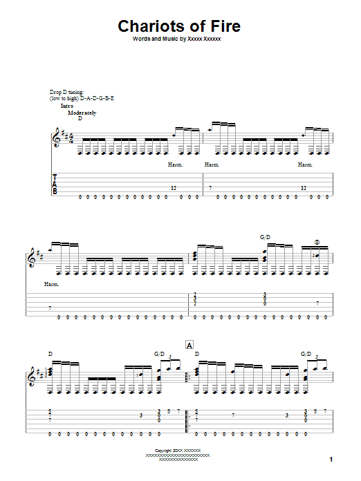 Tablature guitare Chariots Of Fire de Vangelis - Tablature Guitare