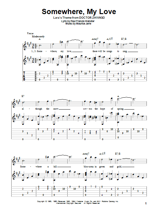 Somewhere, My Love sheet music for guitar solo by Paul Francis Webster