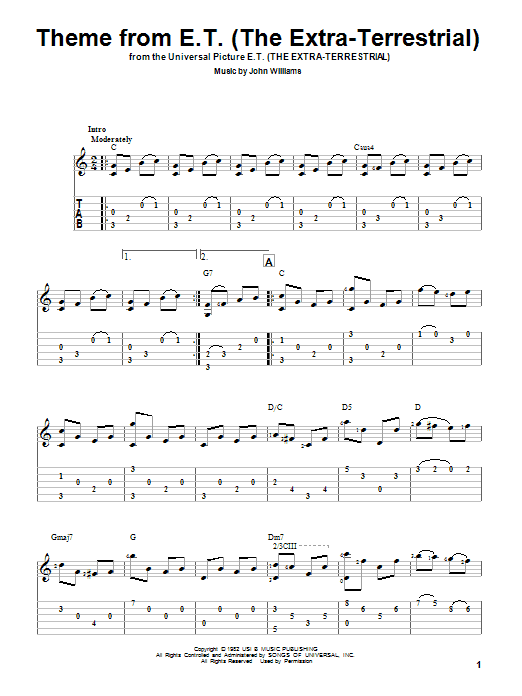 Tablature guitare Theme From E.T. (The Extra-Terrestrial) de John Williams - Tablature Guitare