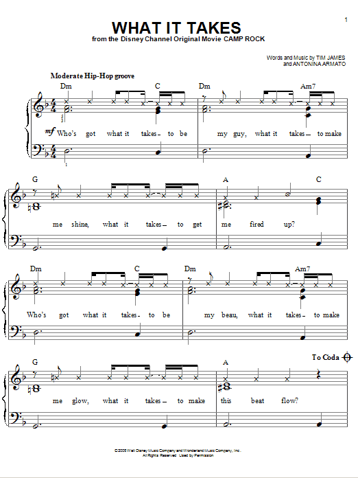 What It Takes sheet music for piano solo (chords) by Tim James