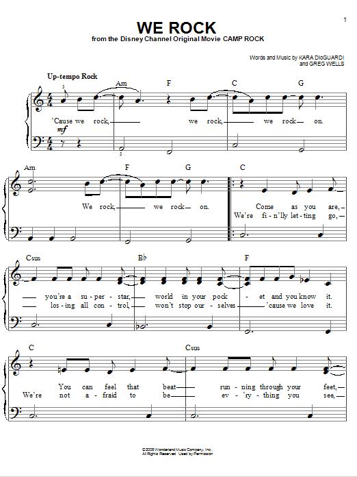 Partition piano We Rock de Camp Rock (Movie) - Piano Facile
