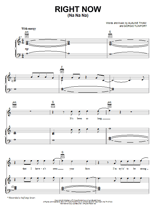 Right Now (Na Na Na) sheet music for voice, piano or guitar by Giorgio Tuinfort