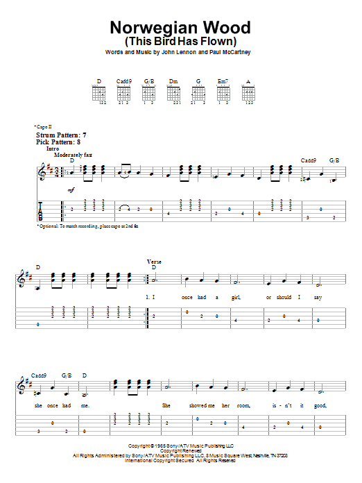 The Beatles: Norwegian Wood (This Bird Has Flown) - Easy Guitar Tab : Sheetmusicdirect.com