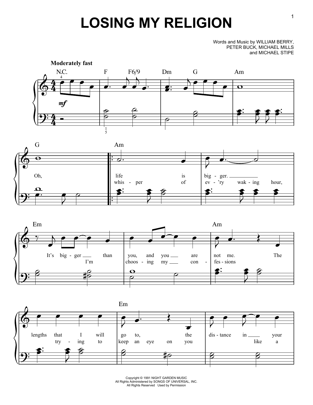Losing My Religion sheet music for piano solo (chords) by Peter Buck