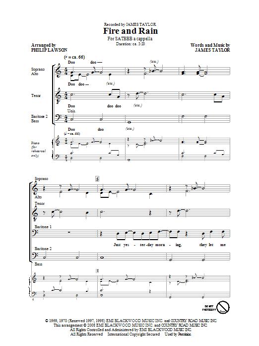 Partition chorale Fire And Rain de James Taylor - SATB