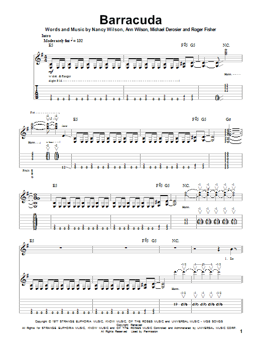 Barracuda sheet music for guitar solo (tablature, play-along) by Roger Fisher