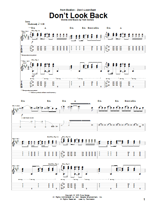 Tablature guitare Don't Look Back de Boston - Tablature Guitare