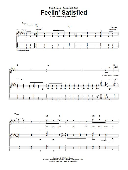 Tablature guitare Feelin' Satisfied de Boston - Tablature Guitare