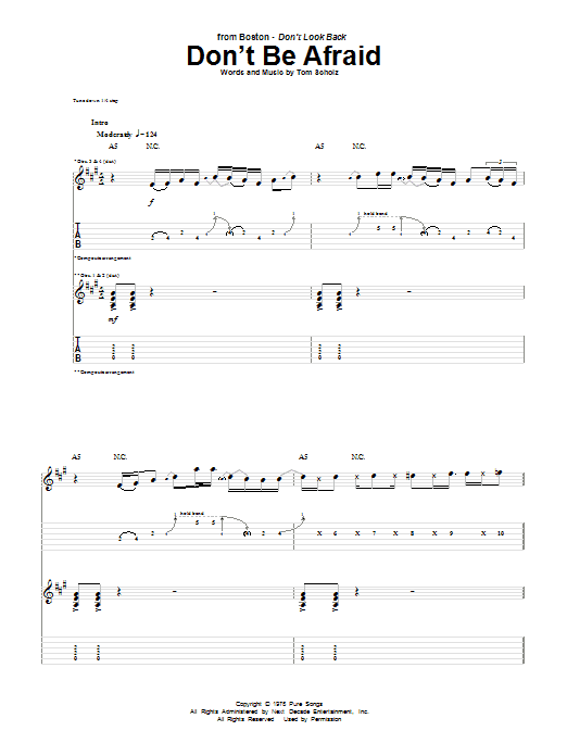 Tablature guitare Don't Be Afraid de Boston - Tablature Guitare