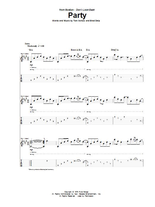 Tablature guitare Party de Boston - Tablature Guitare