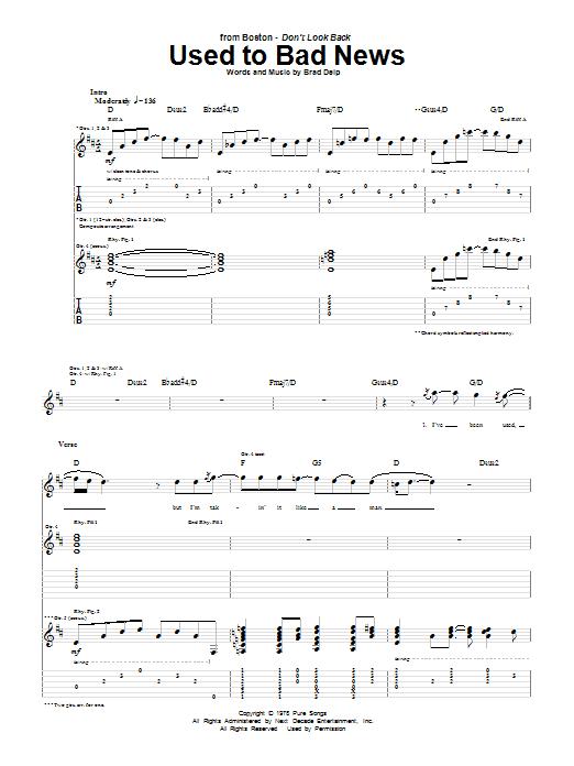 Tablature guitare Used To Bad News de Boston - Tablature Guitare