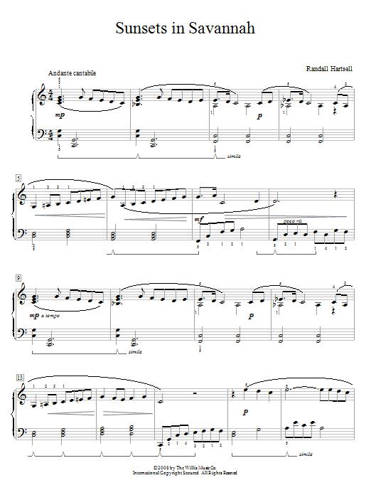 Partition piano Sunsets In Savannah de Randall Hartsell - Piano Facile